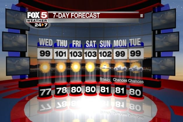 7-Day forecast pictured here starting Aug. 16, 2017. (Cassandra Jones/FOX5)