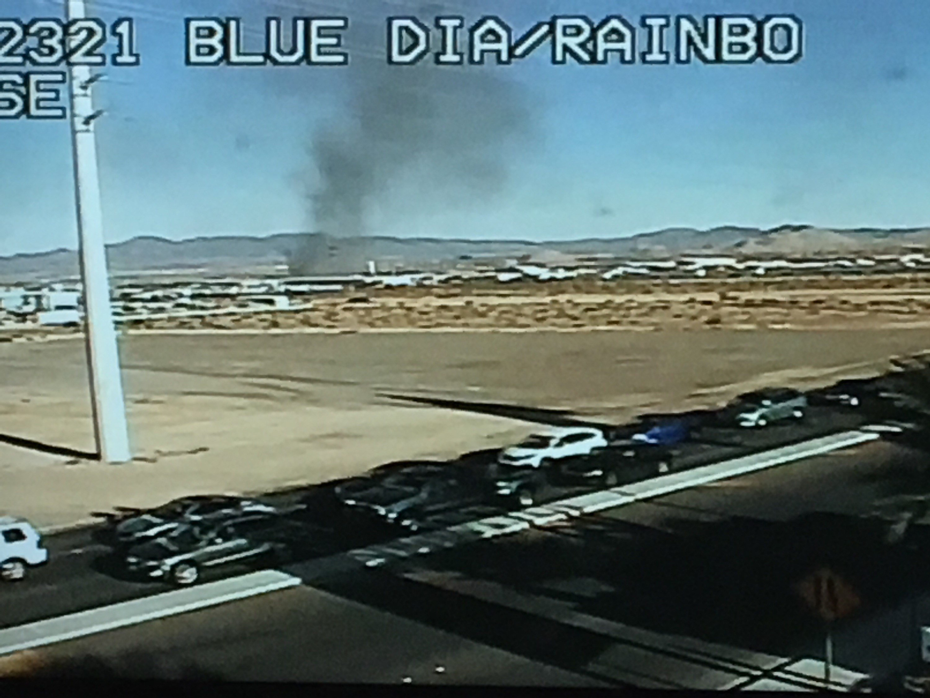 Firefighters battled flames after a semi-truck's 40-foot shipping container caught fire near Blue Diamond Roadand Rainbow Boulevard, according to Clark County Fire Department.(LVACS)