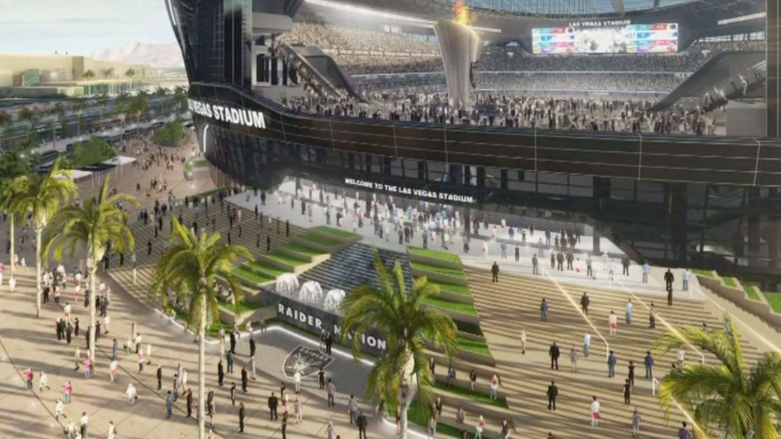 A new rendering of the Raider's stadium was shown at a meeting on Aug. 17, 2017. (Eric Hilt/FOX5)