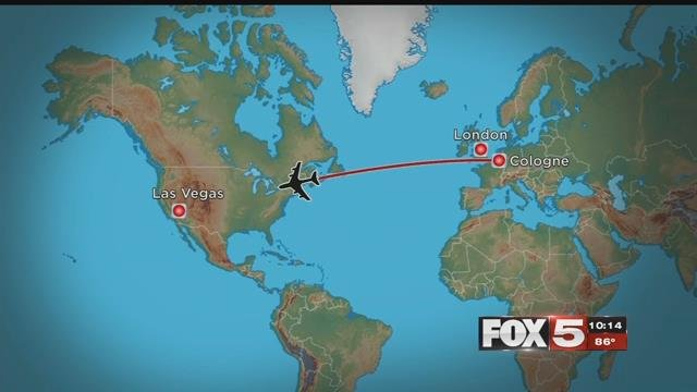 A British business man said he accidentally flew to Las Vegas instead of his planned one-hour flight home. (FOX5)