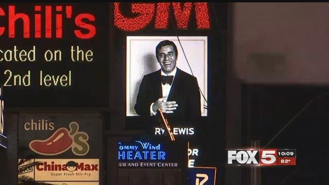 An undated image of Jerry Lewis graces the MGM marquee as a tribute to the late entertainer on August 21, 2017 (FOX5).