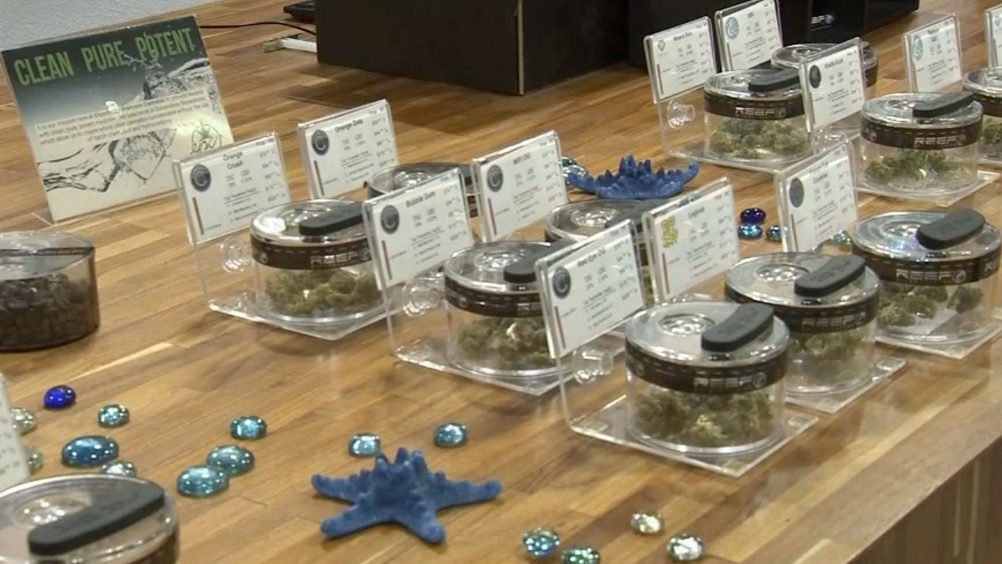 Marijuana is shown at a Las Vegas shop on Aug. 21, 2017. (Abby Theodros/FOX5)