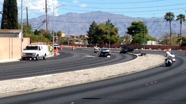 Police investigate a crash at Buffalo Drive and Alta Drive on Aug. 22, 2017. (Armando Navarro/FOX5)