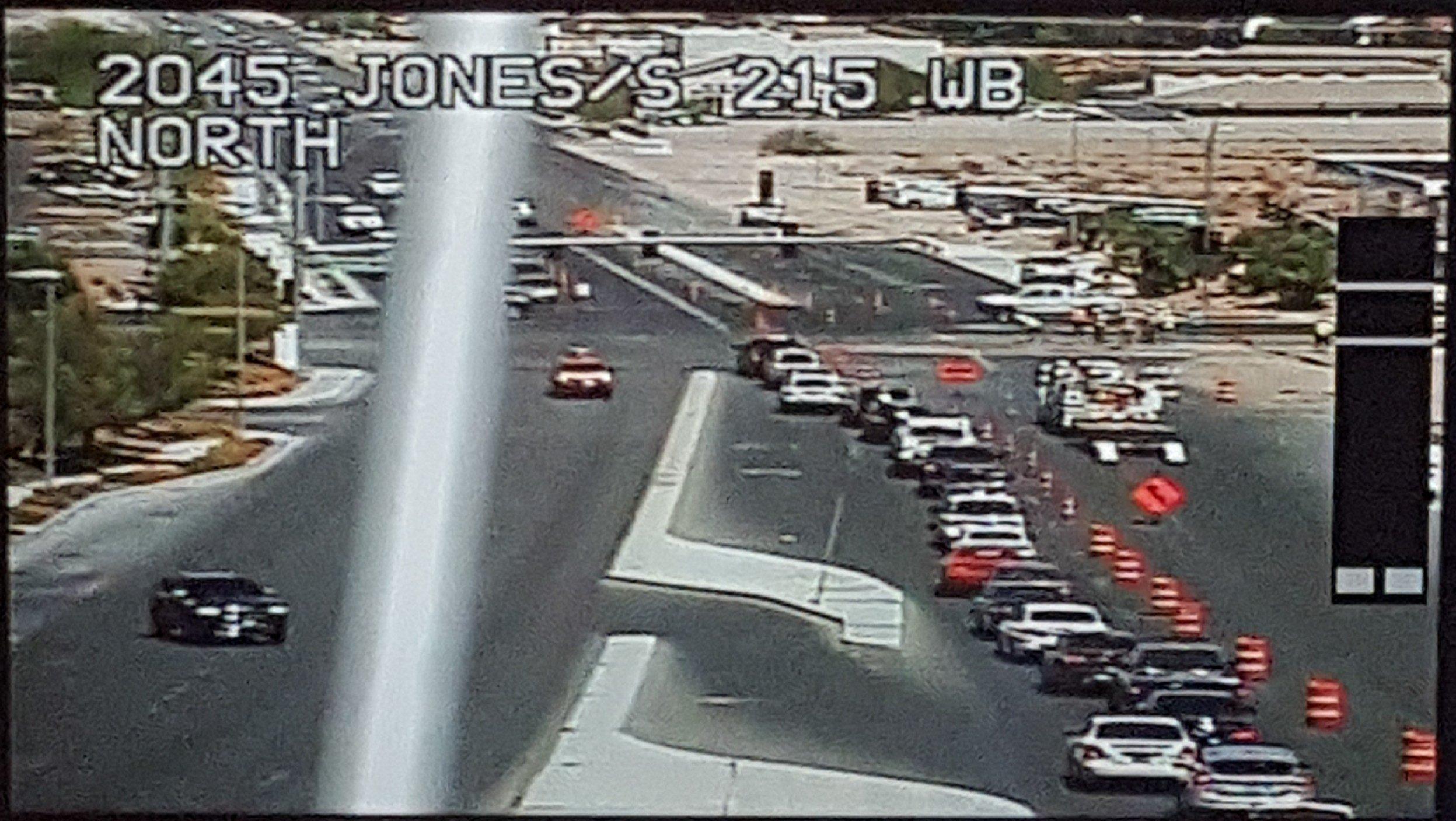 Gas leak closes lanes of Jones Blvd. at I-215   Photo: LVACS