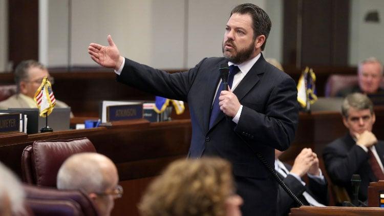 Nevada Senate Minority Leader Michael Roberson, R-Henderson, speaks on the Senate floor at the Legislative Building in Carson City, Nev., on Tuesday afternoon, May 21, 2013. (AP Photo/Cathleen Allison)