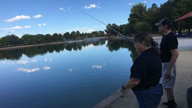 Fishing available at Sunset Park after catfish released into lake on Aug. 23, 2017. (Peter Dawson/FOX5)