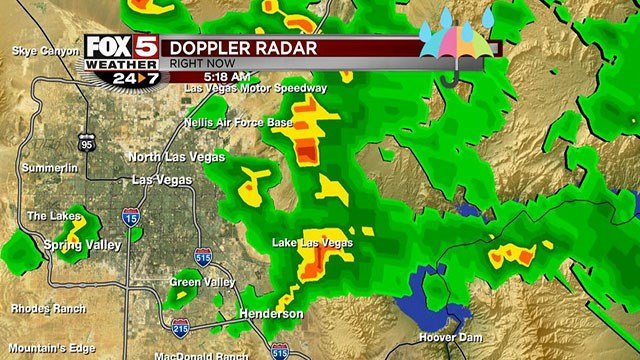 Doppler radar shows intense storms moving through the Las Vegas Valley on Aug. 24, 2017. (Cassandra Jones/FOX5)