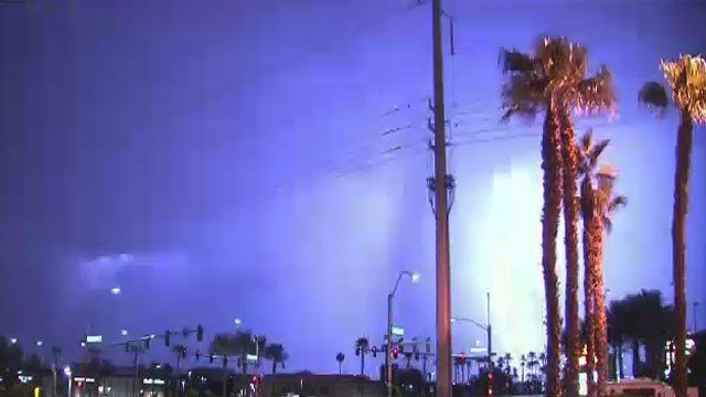 Thunderstorms produced a lot of lightning during the early morning hours around Las Vegas on Aug. 24 , 2017. (Luis Marquez/FOX5)