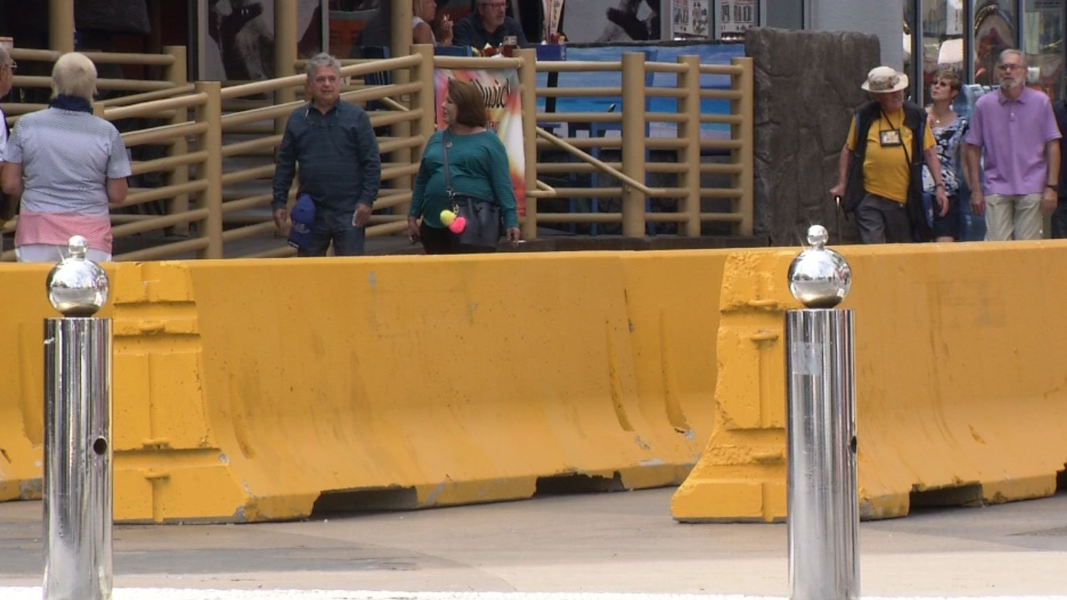 Concrete barriers were added to the Fremont Street Experience. (Roger Bryner/FOX5)