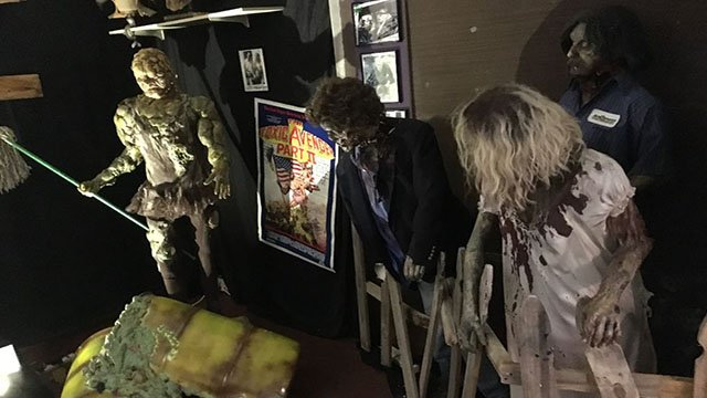 A gallery of Tom Devlin's artwork on display inside the Monster Museum on Aug. 25, 2017. (Peter Dawson/FOX5)