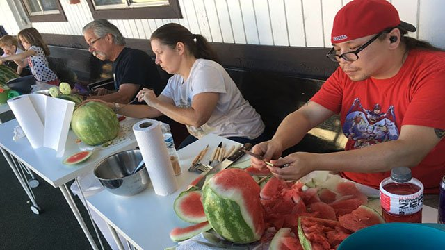 Preview of a watermelon carving contest at the Monster Museum on Aug. 25, 2017. (Peter Dawson/FOX5)
