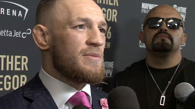 Conor McGregor speaks to a reported during an event for the Aug. 26, 2017 fight. (FOX5)