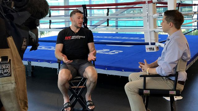 Forrest Griffin sits with Vince Sapienza during an interview (FOX5).