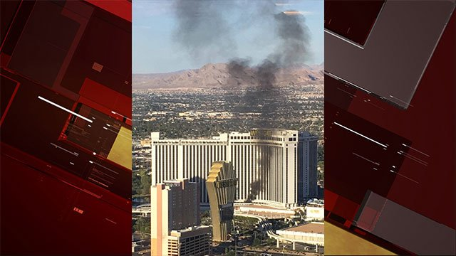 Black smoke is visible from a fire at the Las Vegas Westgate Resort on August 26, 2017 (Nidal Omeish / FOX5).