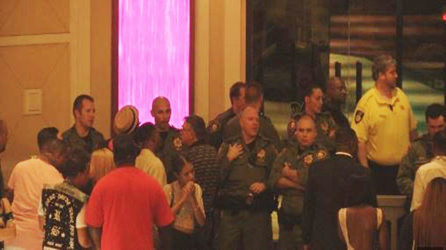 Metro police respond to reports of a shooting and fight that broke out at The Cromwell hotel-casino during the overnight hours on Aug. 27, 2017. (Cherney Amhara/FOX5)