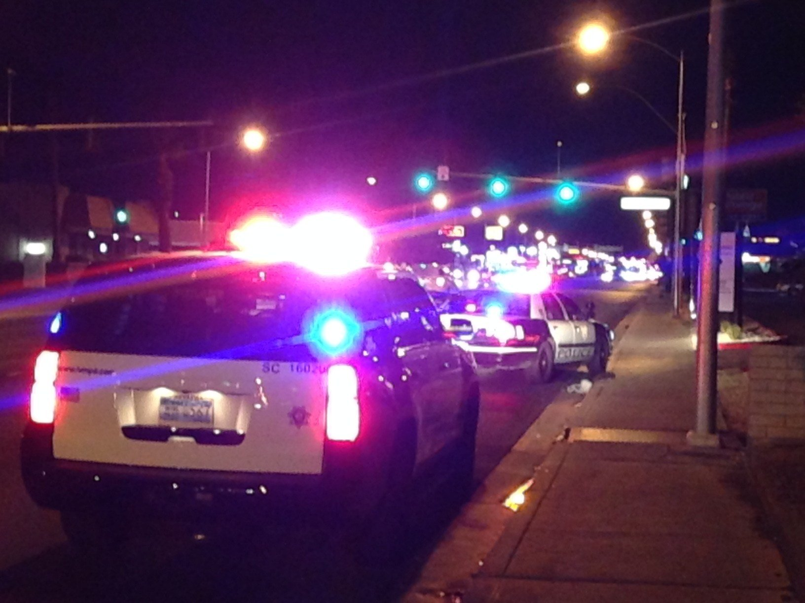 At least one person was shot on Tropicana Avenue near Maryland Parkway Tuesday night, Metro said. (Roger Bryner / FOX5)