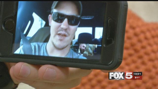 Veteran Matt Koetting speaks to FOX5 from Houston through FaceTime August 29, 2017 (FOX5).