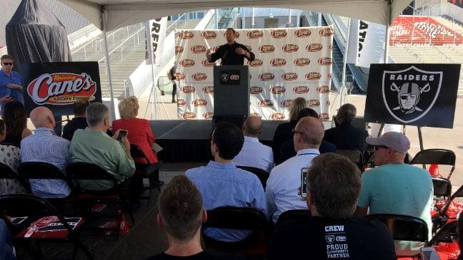 Raising Cane's announced a partnership with the Raiders on Aug. 30, 2017. (Jason Westerhaus/FOX5)