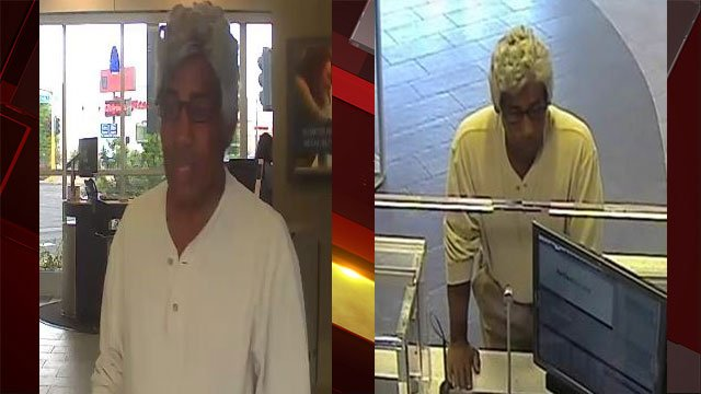 Las Vegas Metro police are searching for a man who wore a wig when he attempted to rob a bank. (LVMPD)