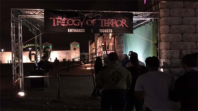 The entrance to the Freakling Brothers Trilogy of Terror haunted house attraction appears in this image from Oct. 24, 2016. (Source: Miguel Martinez-Valle/FOX5)