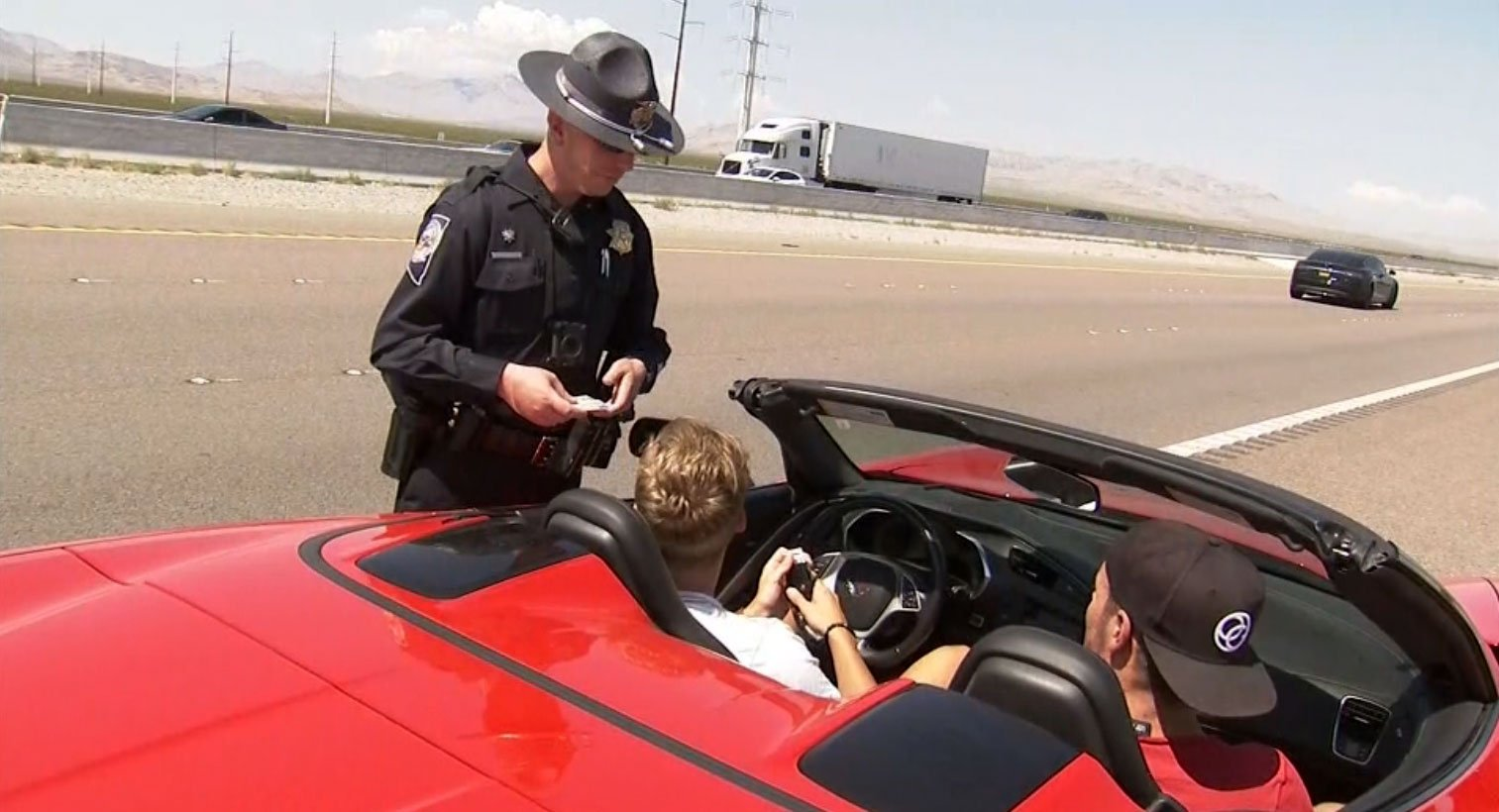 Nevada Highway Patrol pulled over a vehicle on Sept. 1, 2017. (Adam Herbets/FOX5)