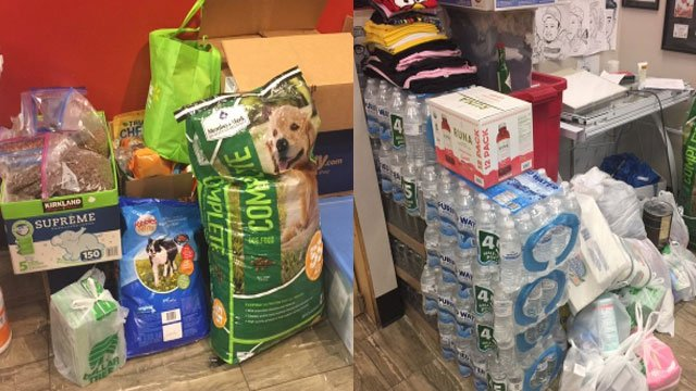 Donations for Hurricane Harvey victims are shown on Sept. 1, 2017. (Faith Tanner/FOX5)