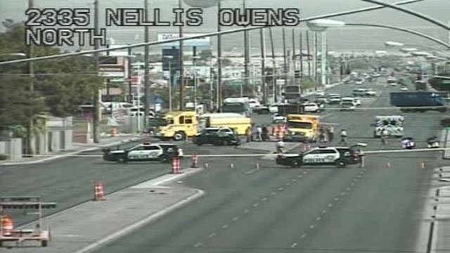Metro officers at the scene of a deadly vehicle accident on Nellis Boulevard. (LVACS)