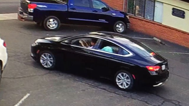 Police released this surveillance image of suspect Joseph Hetzel's car; a black 2015 Chrysler 200 with Ca. licence plate 7NGE514 (Santa Barbara Police).