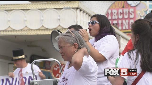 Organizers and fast-food employees gathered on the Strip to demand a minimum wage increase (FOX5).