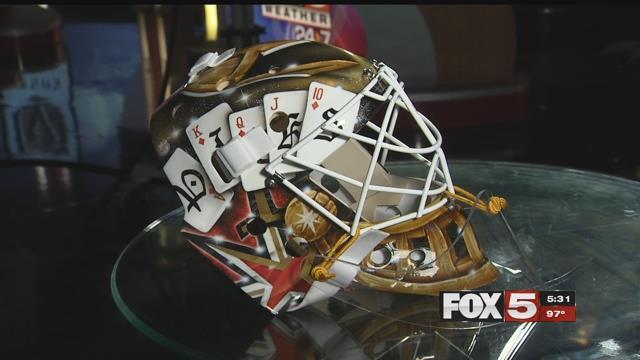 Golden Knights goalie Calvin Pickard's helmet showcases Las Vegas and the team's spirit (FOX5).