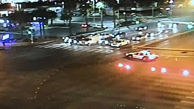 An elderly pedestrian was hit by an SUV near Sahara and Decatur.