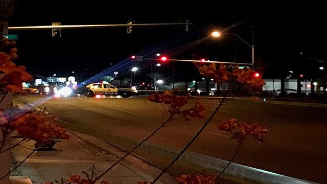 Police investigate a critical hit and run near Sahara Avenue and Decatur Boulevard (Gai Phanalasy / FOX5).