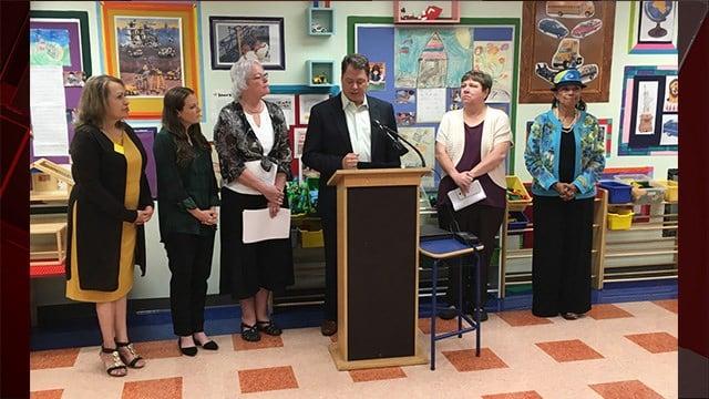 CCSD Superintendent Pat Skorkowsky announces his retirement on Sept. 7, 2017 | Photo: Isaac Torres/FOX5