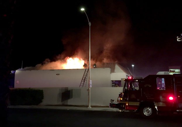 A Las Vegas bar featured on a television show was destroyed in a fire on Sept. 7, 2017. (Source: LVFR)
