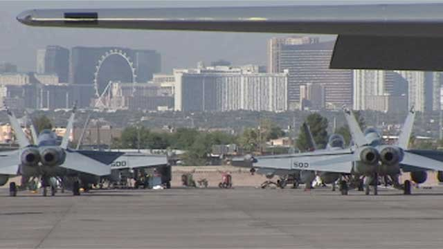 Aircrafts are shown at Nellis Air Force Base in an undated image. (File)