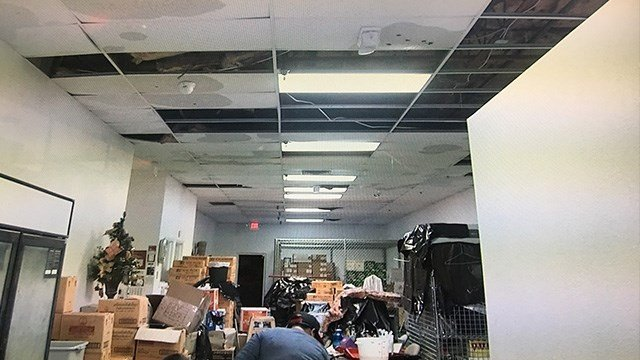 A popular Thai restaurant closed Friday after much of its roof and ceiling collapsed. (Roger Bryner / FOX5)