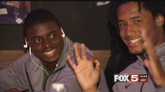 The Miami Central High School football team was stranded in Las Vegas.(Adam Herbets / FOX5)