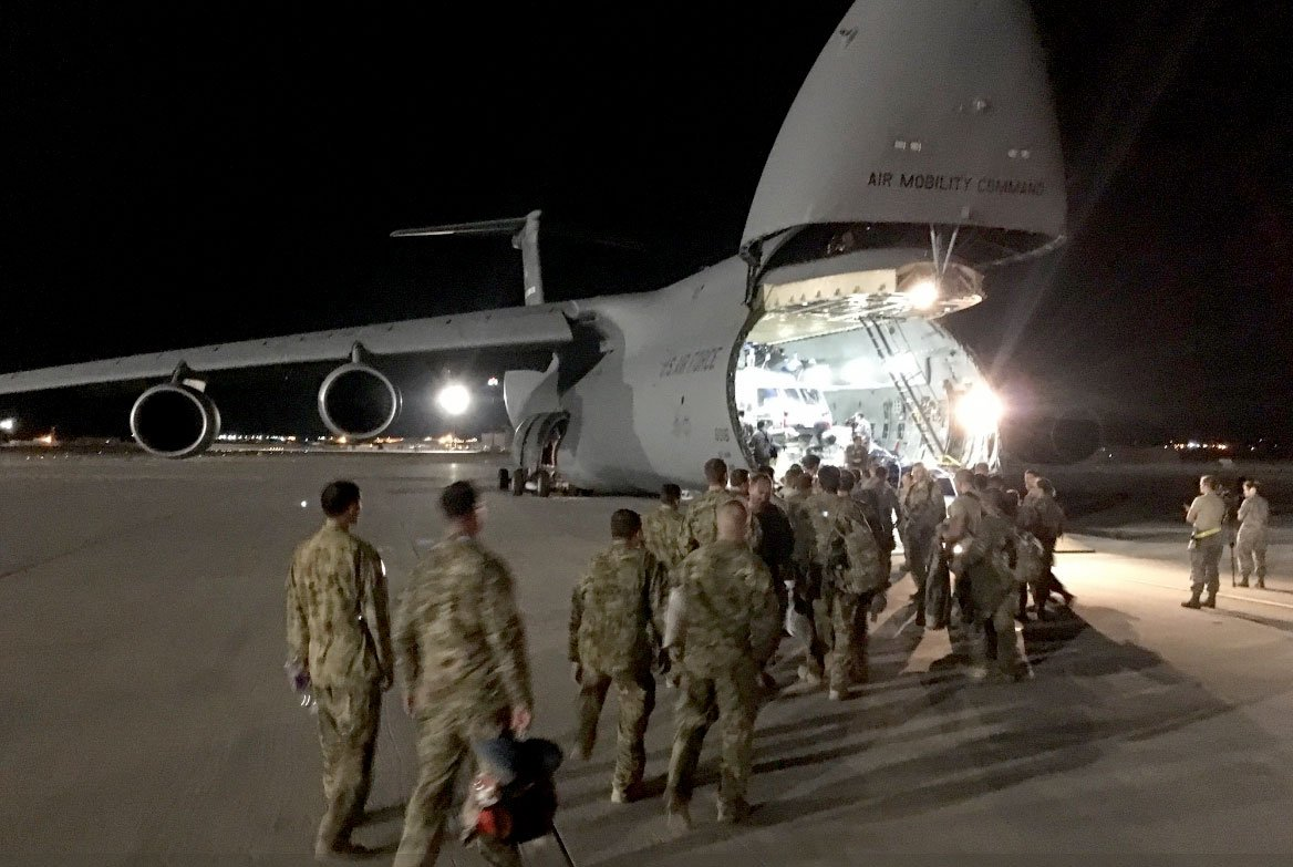 Airmen depart for Irma recovery efforts on Sept. 11, 2017. (NellisAFB/Twitter)