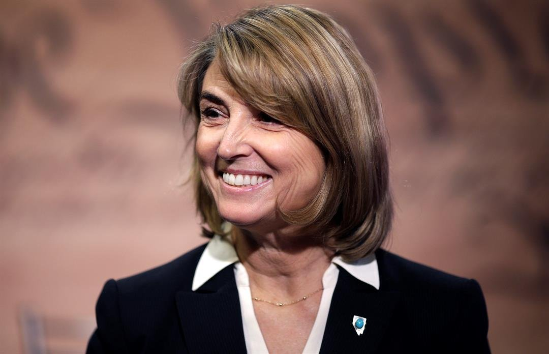 This Oct. 3, 2014 file photo Nevada state treasurer Kate Marshall smiles before a debate against Nevada state Senator Barbara Cegavske in Las Vegas. Marshall announced Wednesday, Sept. 13, 2017, that she's running as a Democrat for lieutenant governor. (A