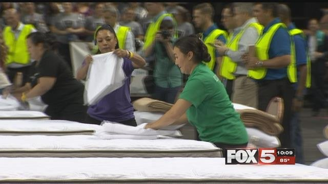 Hotel workers faced off in the housekeeping olympics Wednesday. (FOX5)
