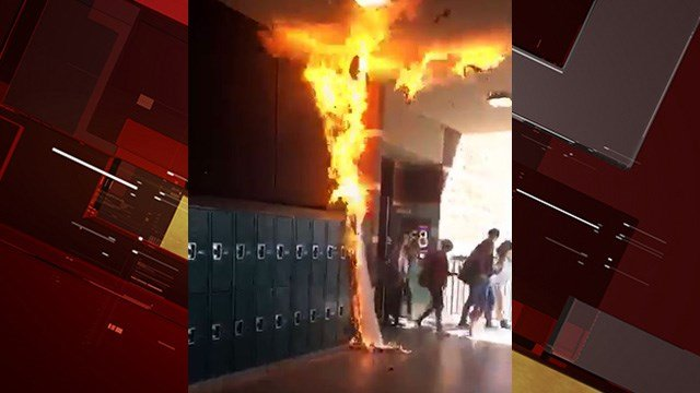 A paper banner was set on fire at Coronado High School Thursday.