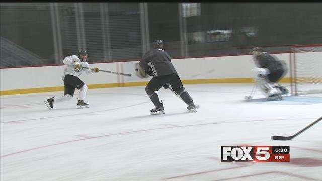 The Vegas Golden Knights opened its inaugural training camp Thursday. (FOX5)