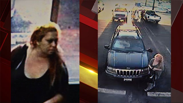 NLVPD released these surveillance stills of a woman who ran over a bystander in a AM/PM parking lot on  the 300 block of West Lake Mead Boulevard near Losee Road (NLVPD / FOX5).