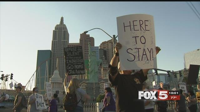 Protestors gathered outside the Tropicana Las Vegas to voice their concerns about ex-sheriff Joe Arpaio's visit to accept an award (FOX5).