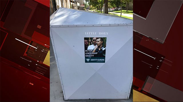 A 'Identity Evropa' poster was found on a UNLV campus book drop box (Brett Le Blanc).