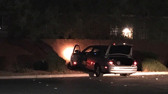 Henderson Police said they're looking for two suspects in a stolen vehicle case after a crash near Boulder Highway and Lake Mead Parkway Wednesday night. (Gai Phanalasy / FOX5)