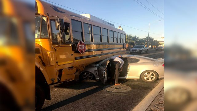 No injuries were reported after a collision involving a bus on Sept. 21, 2017. (Lashondra Rayford/FOX5)