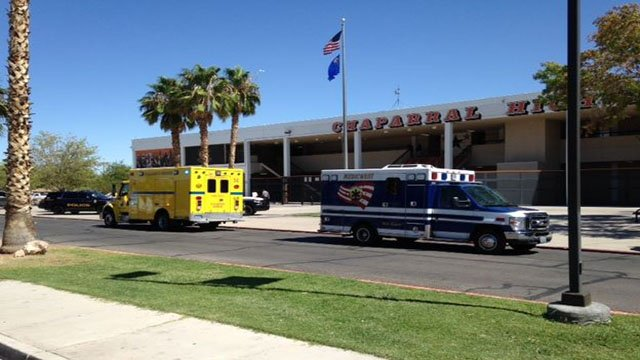 Medical units at Chaparral High School after fight on campus on Sept. 21, 2017. (Armando Navarro/FOX5)