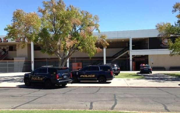 School district police at the scene of a fight call at Chaparral High School on Sept. 21, 2017. (Armando Navarro/FOX5)