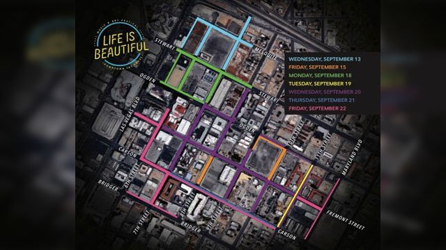 A map shows road closures during Life is Beautiful. (City of Las Vegas)